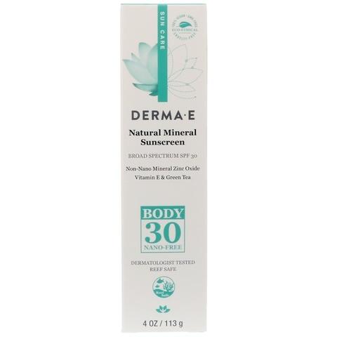 Natural Mineral Sunscreen, SPF 30, 4 oz (113 гр)  Минеральный лосьон для тела с SPF 30 (Derma E)
