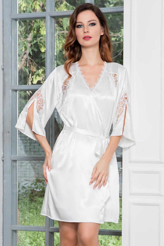 Белый атласный халат-кимоно с кружевом (Свадебные пеньюары)