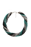 Бисерное ожерелье из 48 нитей черно-зеленое