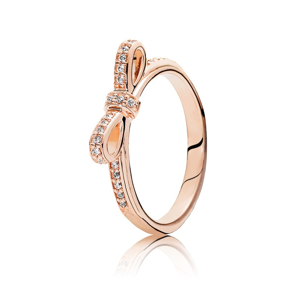 Bow PANDORA Rose ring with cubic zirconia