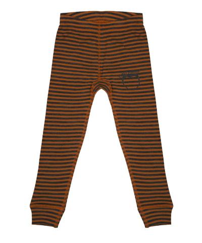 Термолеггинсы в крупную оранжево-серую полоску 1-2 года
