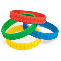 Colour Brick Block Rubber Bracelets - Pack of 4 - Party Bag Fillers