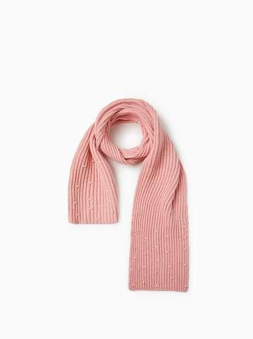 Шарф с бусинами (розовый)
