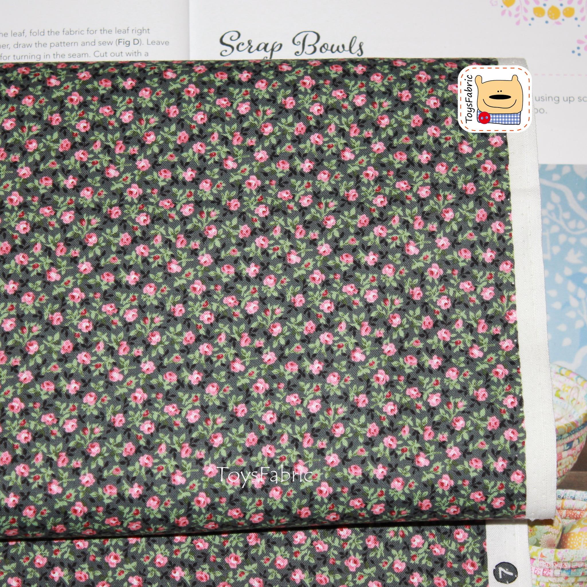 Ткань для пэчворка 20831 (мелкие розы на сером) 45х55см