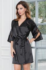 Черный короткий халат-кимоно атласный с кружевом