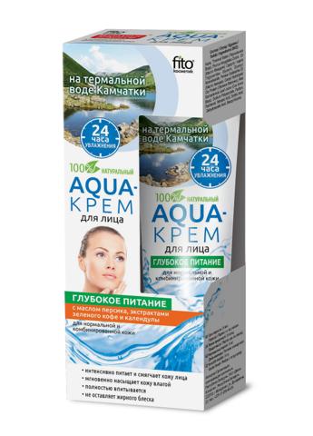 Фитокосметик Народные рецепты Aqua-крем для лица на термальной воде Камчатки Глубокое питание 45мл