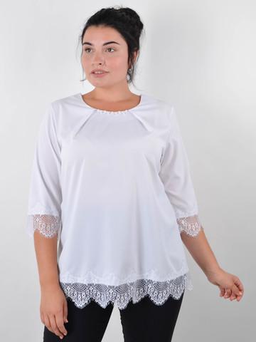 Лаура. Нарядная блуза для больших размеров. Белый.