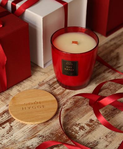 Красная свеча 330мл с древесным фитилем