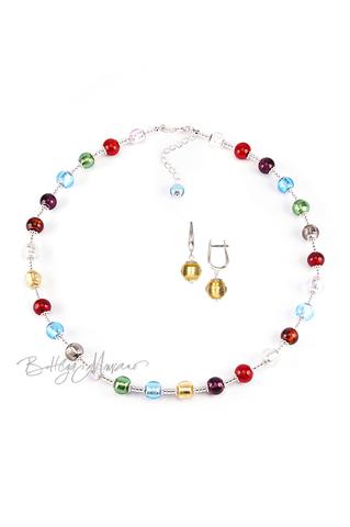 Комплект Carnavale Argento (золотистые серьги на серебре, ожерелье)
