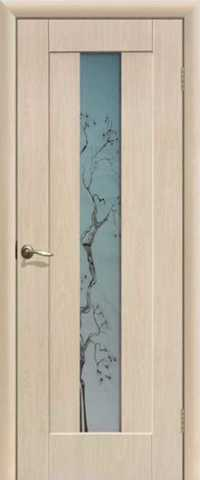 Дверь Сибирь Профиль Японская вишня, цвет беленый дуб, остекленная