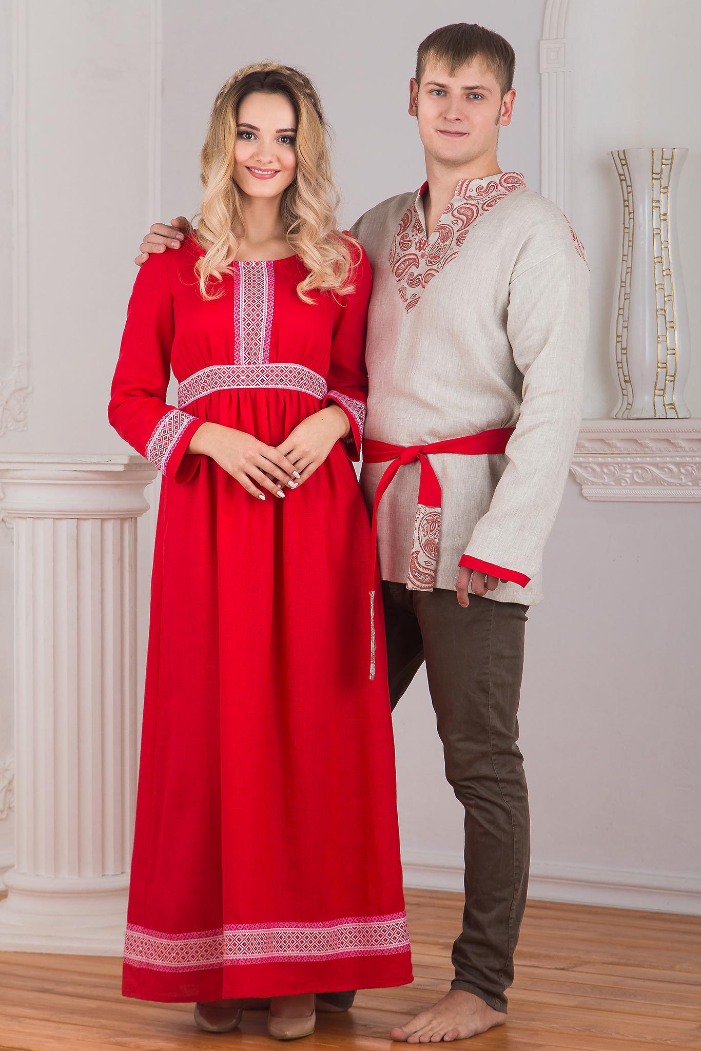 Платье красное Алатырь с рукавом в паре