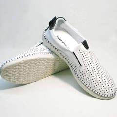 Мужские кожаные туфли белые слипоны Ridge Z-441 White Black.