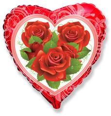 Шар F (18''/46 см) Розы (эксклюзивный рисунок ООО БРАВО) / Roses