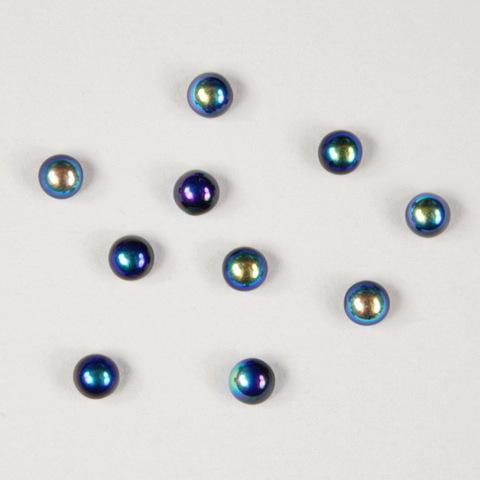 Кабошон круглый Чешское стекло, цвет - бензиновый, 3 мм, 10 штук