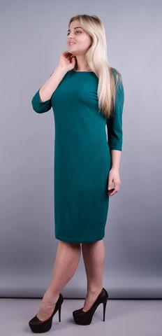 Аріна креп. Базове плаття великих розмірів. Смарагд.