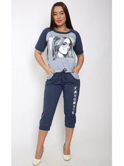 TK643-3 комплект женский (футболка+бриджи), серый