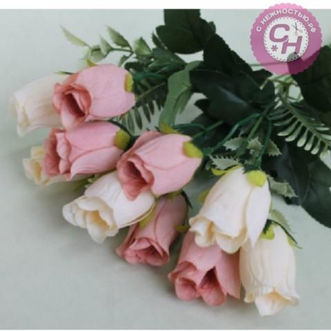 Розы искусственные бутонами, букет 5 веток, 34 см.