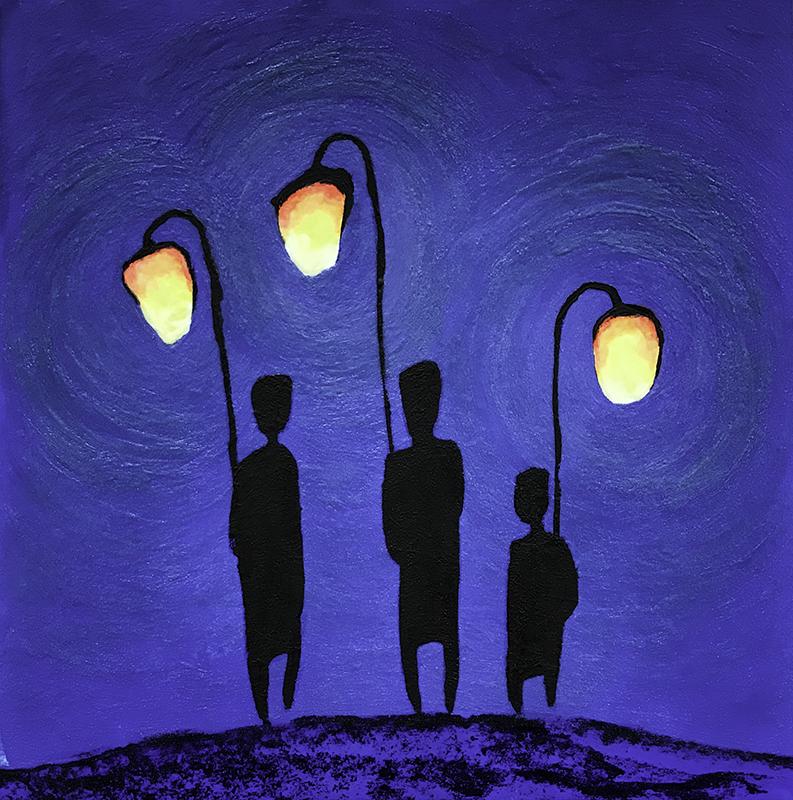 The Walk (Glowing) 40x40 cm