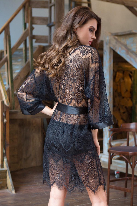 Эротический халат кимоно из черного кружева