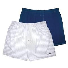 Мужские хлопковые трусы-шорты HUSTLER темно-синие и белые
