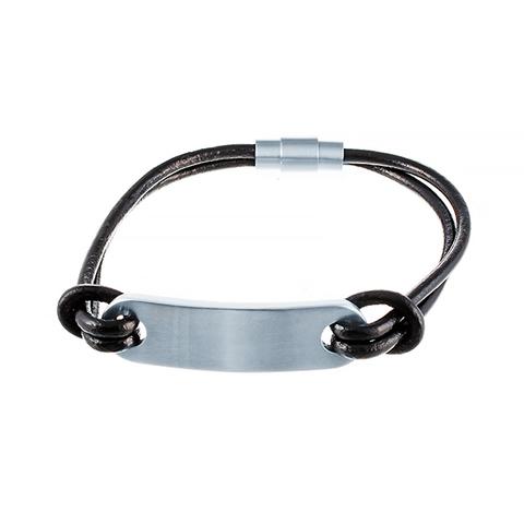 Кожаный браслет с пластиной JV 232-0104