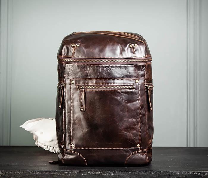 BAG461-2 Большой мужской рюкзак из натуральной кожи фото 01