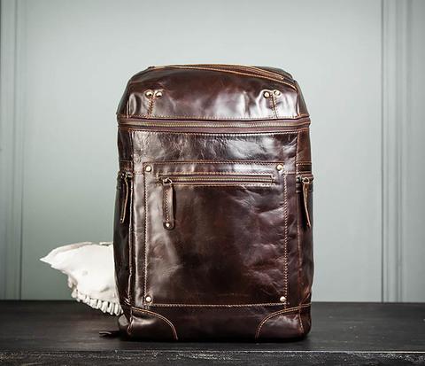 BAG461-2 Большой мужской рюкзак из натуральной кожи