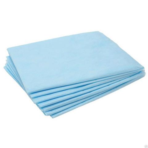 Одноразовые простыни Комфорт сложенные, голубые, СМС, 200х80см (20шт/уп)