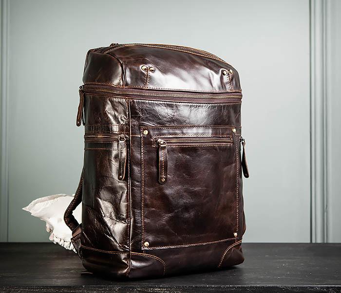 BAG461-2 Большой мужской рюкзак из натуральной кожи фото 02