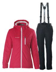 Женский прогулочный утепленный лыжный костюм Nordski Premium малиновый