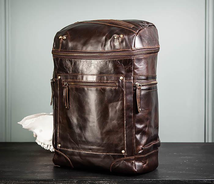 BAG461-2 Большой мужской рюкзак из натуральной кожи фото 03
