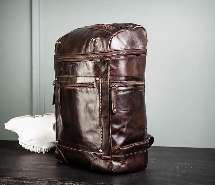 BAG461-2 Большой мужской рюкзак из натуральной кожи фото 04