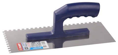 Гладилка ЗУБР нержавеющая с пластиковой ручкой, зубчатая, 6х6мм