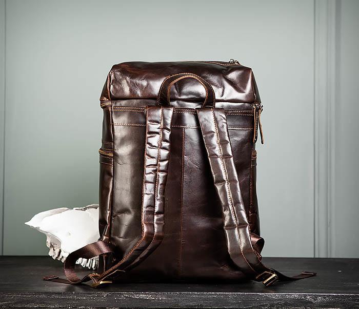 BAG461-2 Большой мужской рюкзак из натуральной кожи фото 05