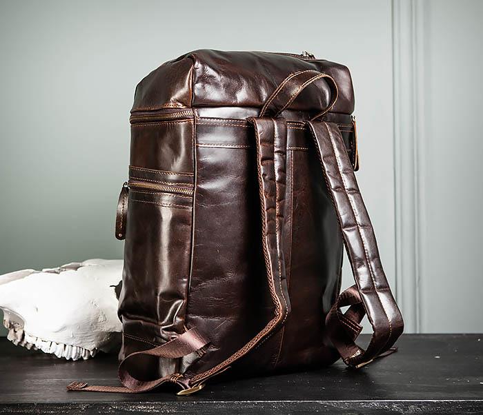 BAG461-2 Большой мужской рюкзак из натуральной кожи фото 06