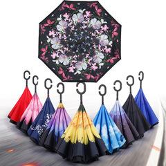 Зонт наоборот с принтом