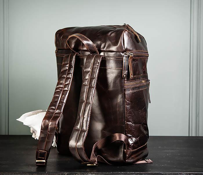 BAG461-2 Большой мужской рюкзак из натуральной кожи фото 07