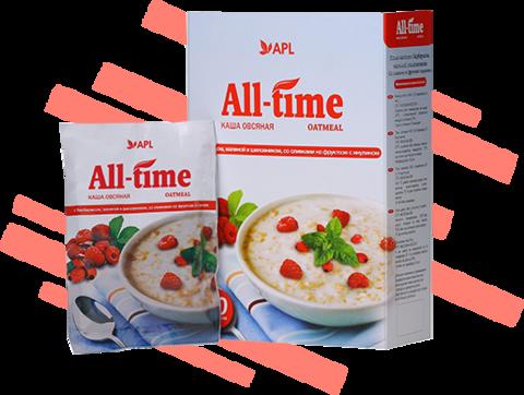 APL. Каша All-Time  овсяная с барбарисом, малиной и шиповником со сливками 10 пакетиков по 45 граммов
