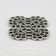Винтажный декоративный элемент - филигрань 19 мм (оксид серебра)