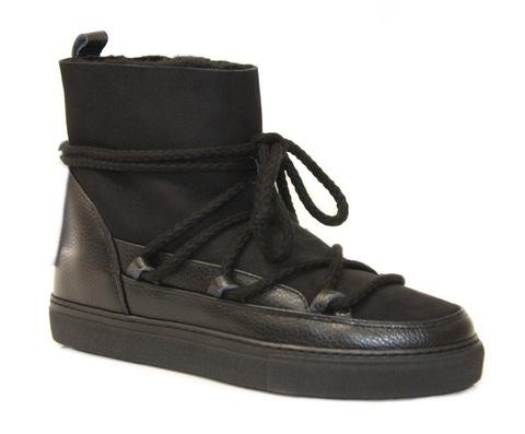 Высокие комбинированные кеды INUIKII Sneaker classic black на меху