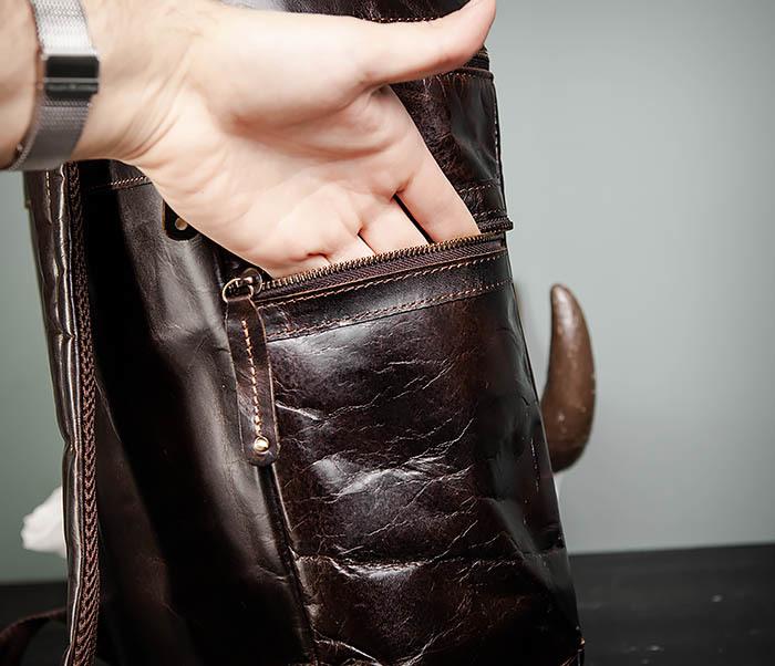 BAG461-2 Большой мужской рюкзак из натуральной кожи фото 09