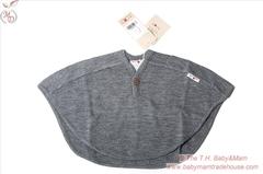 Пончо ManyMonths, 0-4,5/5 лет (50-104/110 см), Серый меланж (шерсть мериноса 100%)