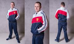 Муж. Спортивный костюм 430200111 RUSSIA-ФЛИС  Белый-Красный-Темно-Синий