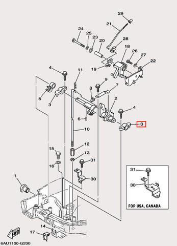 Держатель рычага для лодочного мотора F9,9 Sea-PRO (19-3)