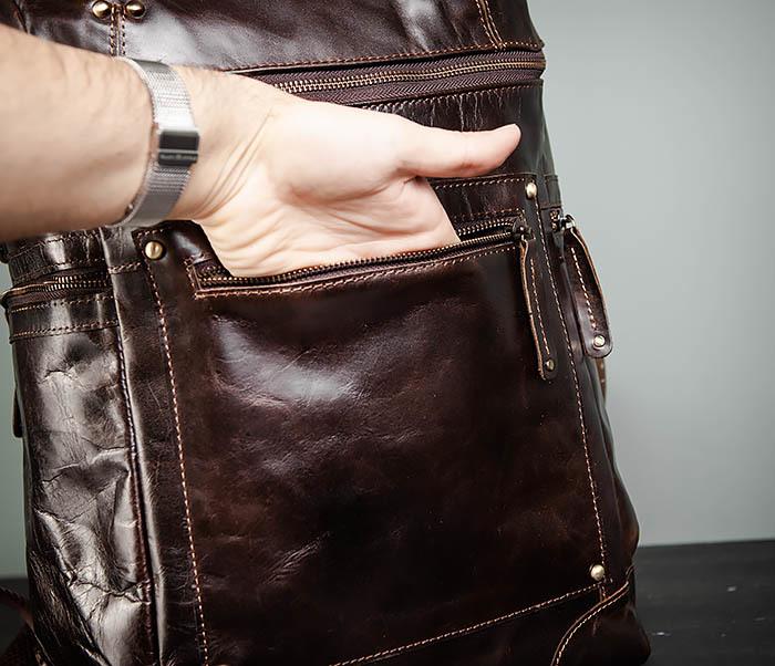BAG461-2 Большой мужской рюкзак из натуральной кожи фото 10
