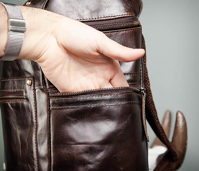 BAG461-2 Большой мужской рюкзак из натуральной кожи фото 11