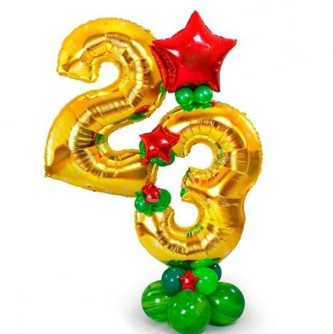 Стойка из воздушных шаров с цифрами на 23 февраля