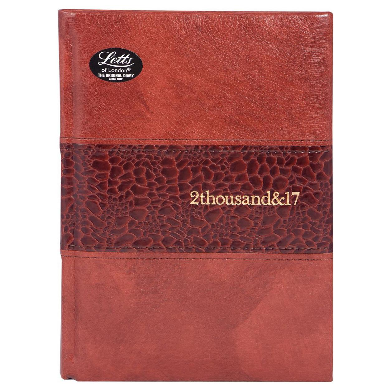 Ежедневник Letts Manhattan 2017, A5 (148 х 210), коричневый, иск.кожа, срез кремовый 822973