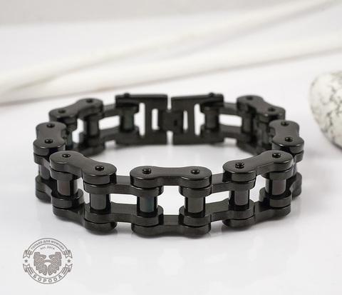 Стильный стальной браслет «Цепь» черного цвета (22 см)