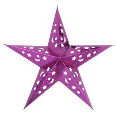 Звезда бумажная голографическая сливовая (30 см)